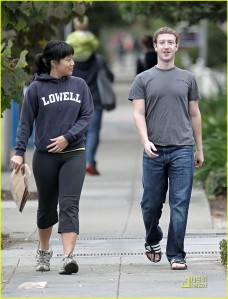 """**EXCLUSIVE** Mark Zuckerberg, founder of """"Facebook"""", enjoys a leisurely Sunday afternoon stroll with his girlfriend Priscilla Chan"""